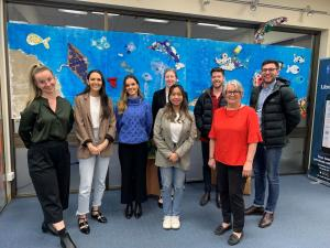 Kalyna, Victoria, Tayla, Lauren, Kateleen, Rory and Matthew with Tina (Port Augusta Library)