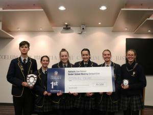 Six students from Immanuel College posing with the winning prize.