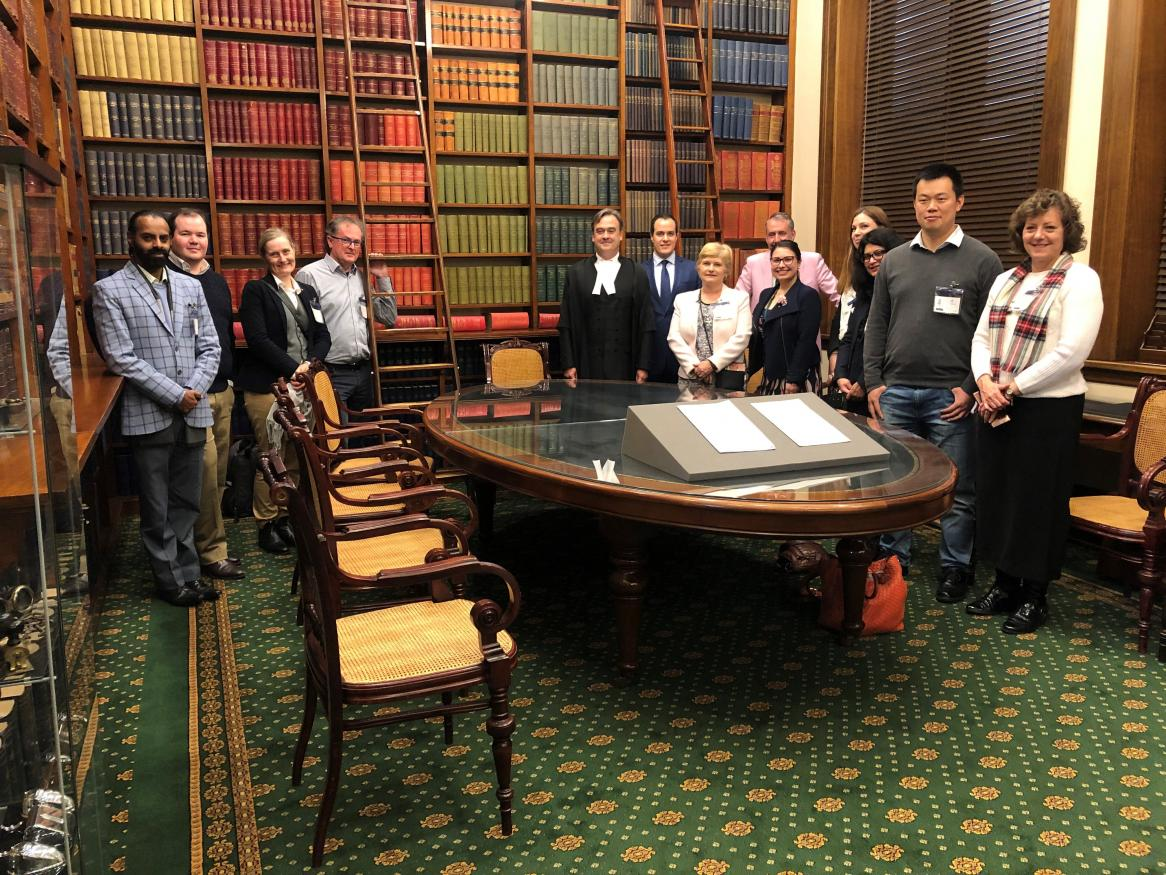 Academics visiting South Australian Parliament house library