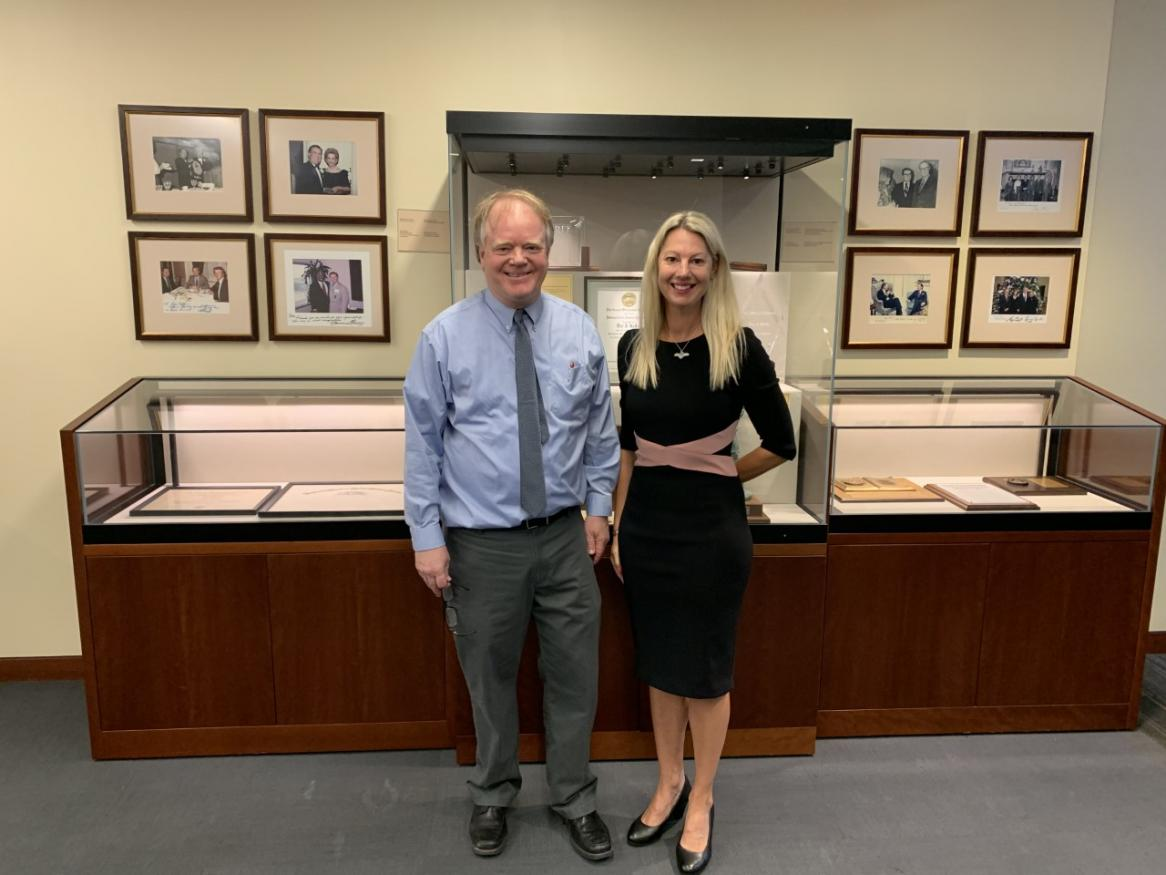 Photo of Professor Christopher Yukins Co-Director of Government Procurement Law Program at George Washington University and Dr Colette Langos, University of Adelaide.